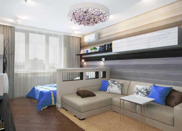 комната с перегородкой 18 кв м интерьер прямоугольной